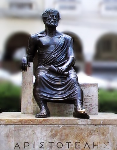 The statue of the philosopher Aristotle at Aristotelous Square, Thessaloniki, Greece