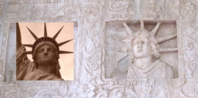 Striking similarities of Fotovolos Apollo with the Statue of Liberty!