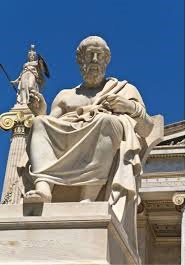 Plato statue at the Academy of Athens building in Athens, Greece.